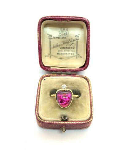 Antique Art Nouveau 18ct Gold Over Silver Diamond & Almandine Garnet Heart Ring