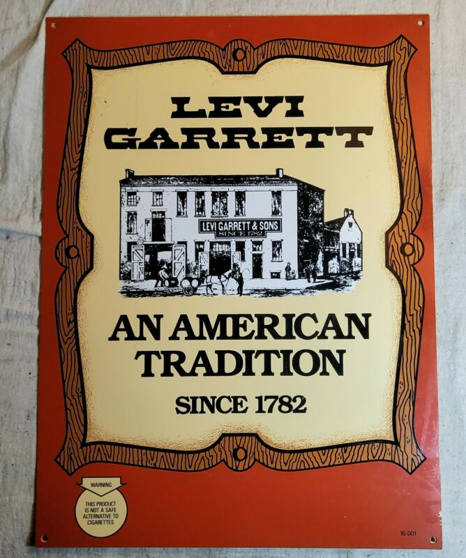 VINTAGE LEVI GARRETT CHEWING TOBACCO AN AMERICAN TRADITION SINCE 1782 ADV. SIGN