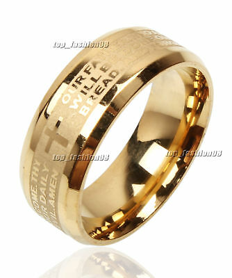 Lots of 20pcs Stainless Steel Etched Lord's Prayer Cross Wedding Gold Band Ring