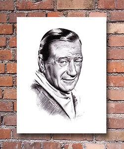 John Wayne Pencil Portrait The Duke Art Print Signed By