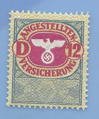 Germany Nazi Third Reich Swastika Eagle Revenue D 12 Stamp MNH WW2 ERA