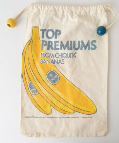 1970s Chiquita Bananas Canvas Tote Bag w/ Wooden Bead Closure Top Premiums