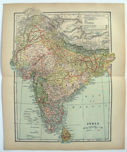 Original 1895 Map of India by Dodd Mead & Company. Antique