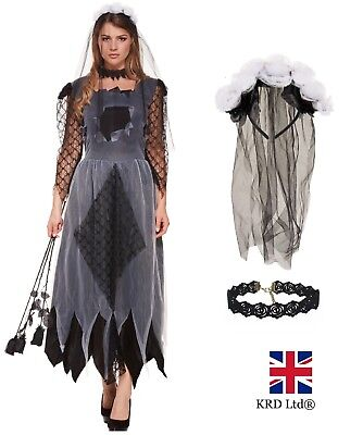 CORPSE BRIDE Fancy Dress Costume Womens Ladies Zombie Scary Halloween Outfit UK