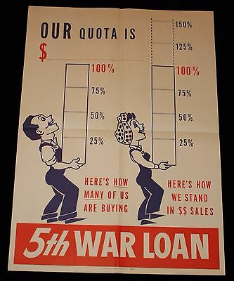 5th War Loan 'Our Quota Is $___' WWII War Bond Fundraising Poster