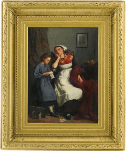 Mother and Child Reading Antique Oil Painting Amédée Guérard (French, 1824-1908)