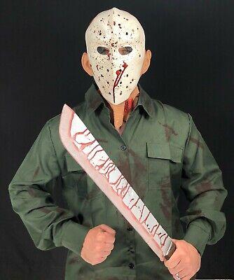 Kinder Jason Halloween Kostüm Friday Hockey Maske Grün Hemd 13th Blutig - Kostüm Jason Friday 13th