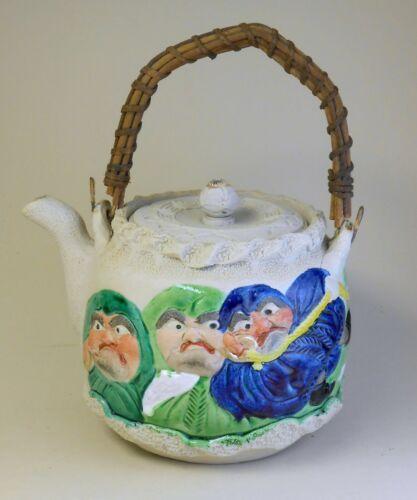 Meiji Japanese porcelain Banko ware teapot by Hori Tomonao wi Daruma monk faces