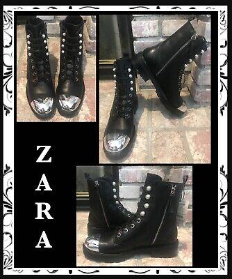 Zara Silver Boots (ZARA WOMAN BLACK LEATHER ANKLE BOOTS wFAUX PEARLS & SILVER TOE Sz 7.5 38)