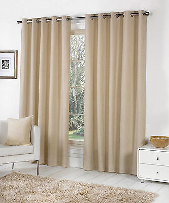 Sorbonne Plain Dyed Heavy Cotton Eyelet Ring Top Lined Curtains, Natural