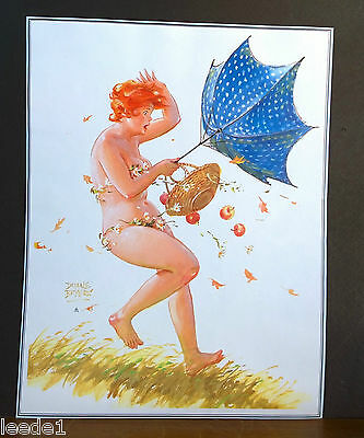 Duane Bryers Hilda Page Windy Umbrella Inside Out Apples Blown Out of Basket