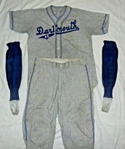 Vintage 1930s Dartmouth A.c. Grey Flannel Baseball Uniform Jersey Pants Socks