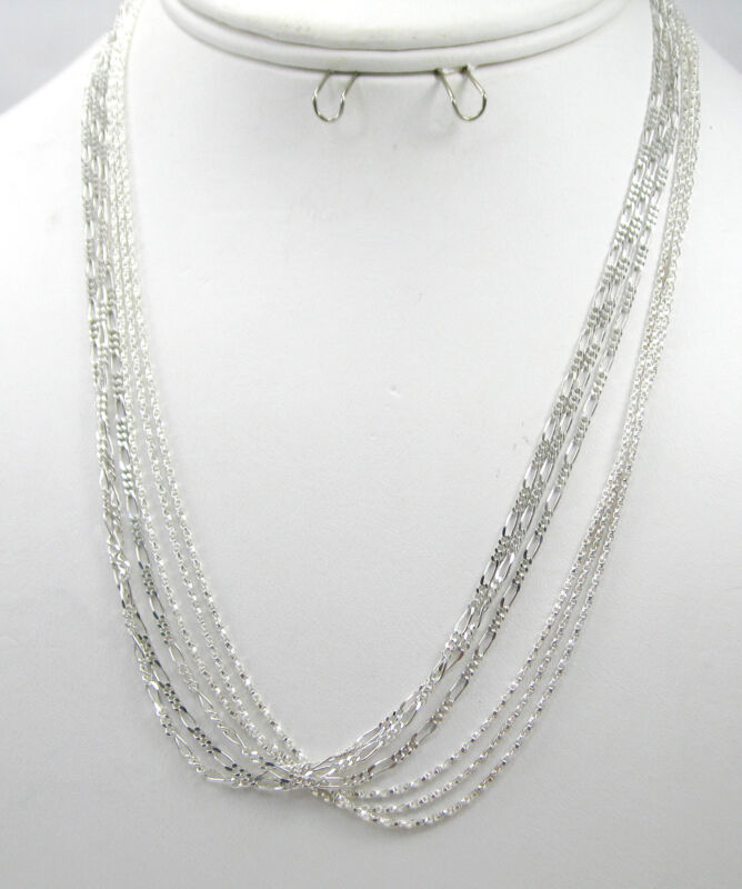 """Wholesale Lot of 6 3-TBox 3-Fig Chain 18"""" 925 Sterling Silver Necklace F500"""