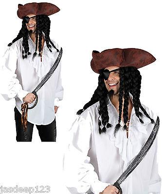 Pirate White Shirt Men Fancy Dress Costume Buccaneer Shipwreck Lace Frilly  (Pirate Men)