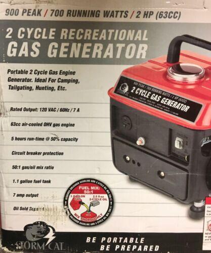 STORM CAT 60338 2 CYCLE 700 Watt 2 HP 63 CC Recreational Portable Generator