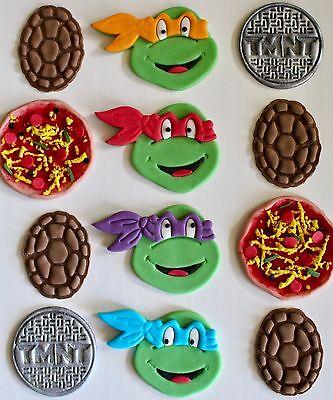 12 TMNT Ninja Turtle Edible Fondant Cupcake Toppers (Edible Ninja Turtle Cupcake Toppers)
