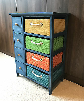 Blue Storage Unit Chest of Drawers Canvas Baskets Boys Bedroom Furniture Cabinet