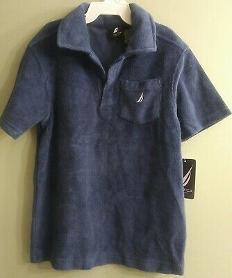 NWT 4t Nautica toddler Boys Terry toweling polo Shirt beach pool bath blue NEW