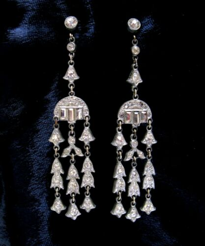 "Art Deco Long Rhinestone Earrings 1930s Pendant Vintage Pot Metal 3.25"" Flapper"