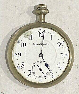 ANTIQUE 16S INGERSOLL TRENTON POCKET WATCH - PARTS OR REPAIR