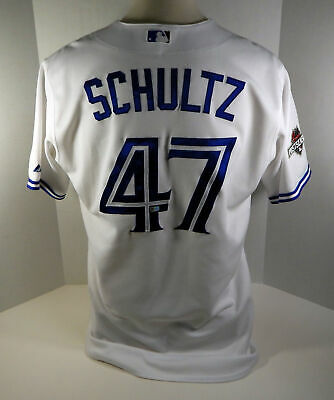 deaaa2623 2015 Toronto Blue Jays Bo Schultz  47 Game Used White Jersey Post Season  Patch