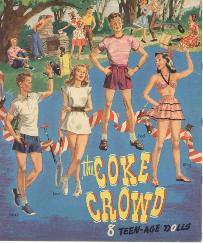 VINTGE UNCUT 1964 COKE CROWD PAPER DOLLS HD~LASER ORG SZ REPRODUCTION~HI QUAL~