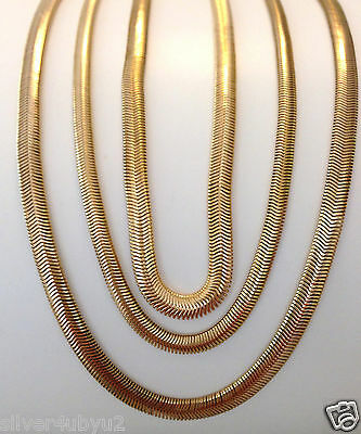 """24K gold plated Stainless Steel Herringbone snake necklace chain 4mm-6mm 18"""" 20"""""""