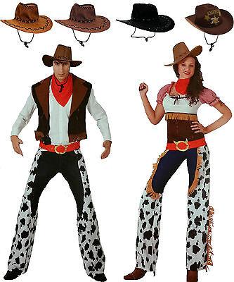 Cowboy oder Cowgirl Kostüm Gr. M/L XL 3 Teile, Hut wählbar, Saloon Wild - Wild West Cowgirl Kostüm
