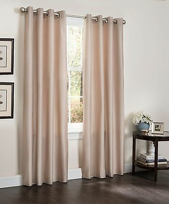 Set of 2 Blackout Living Room Window Curtain Faux Silk Panel Erin 54 X 84 Bamboo ()