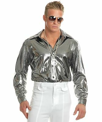 Disco Shirt Retro 70S Metallic Studio 54 Mens Halloween Costume - Mens 70s Disco Costumes
