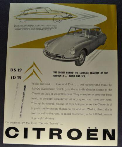 1957 Citroen Sales Brochure Sheet DS 19 ID 19 Excellent Original 57