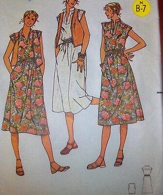 Quick Butterick 6152 Summer DRESS & VEST, size 10, uncut sewing pattern