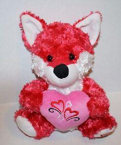 Hugfun-FOX-8-034-Valentines-Day-Pink-Swirl-Plush-Holds-Pink-Heart-Soft-Toy-Stuffed