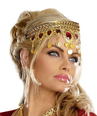 RENAISSANCE QUEEN ROMAN GREEK GODDESS ATHENA COSTUME HEADPIECE CROWN GOLD  - Renaissance Goddess