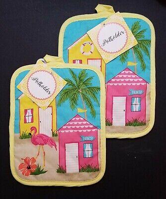 Pink Flamingo Square Pot Holders - Set of 2 - Nautical Tropical Beach Hut Palms