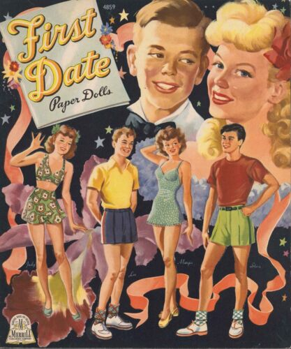 VINTAGE UNCUT 1944 FIRST DATE PAPER DOLL ~SCARCE~LASR REPRODUCTION~LO PR~FREE SH