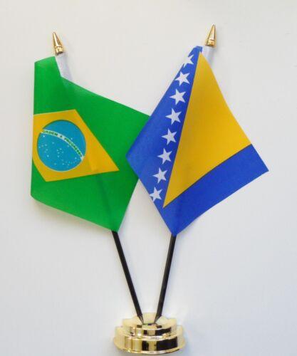 Brazil & Bosnia and Herzegovina Double Friendship Table Flag Set
