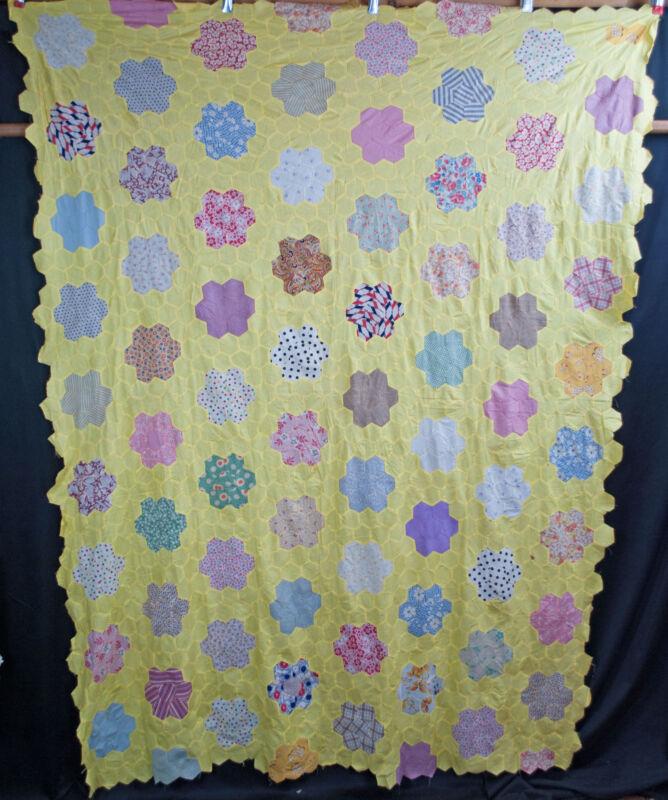 """Vintage Flower Garden Quilt Top 81"""" x 60"""""""