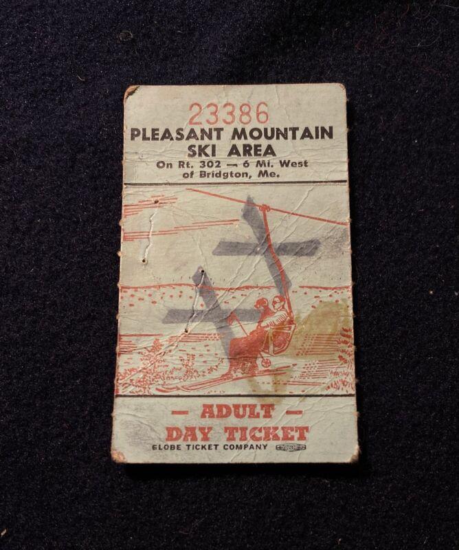 PLEASANT MOUNTAIN (Lost Name) Vtg 1960s Ski Lift Ticket MAINE Souvenir Travel