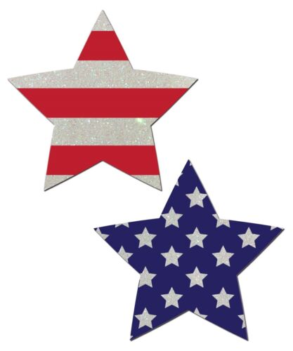 Pastease Flag Print Star Shaped Nipple Pasties by Pastease