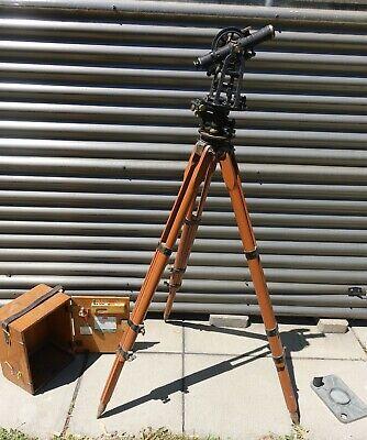 Vtg 1948 Keuffel Esser Surveying Transit Ph-5136 Tripd Wooden Box Accessorie