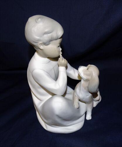 """Lladro 7.5"""" Figurine """"Boy with Dog"""" Quiet Spaniel Matte Finish 1971-74 Trademark"""