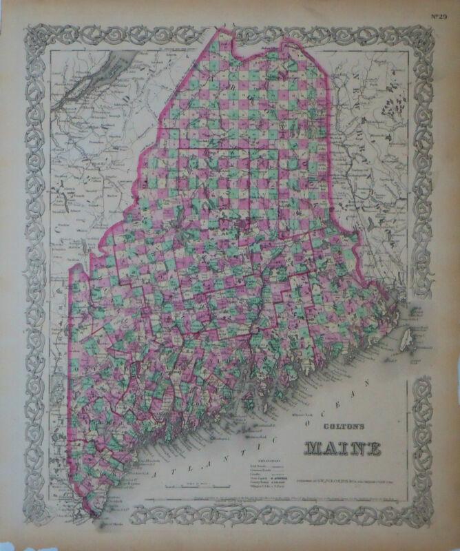 1855 Genuine Antique map Maine. Hand colored. Colton