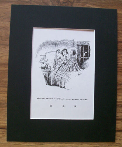 Child Cartoon Print Norman Thelwell Nightmare Comfort Bookplate 1977 8x10 Matted