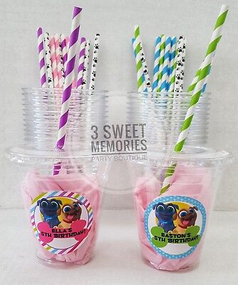 Personalized Cups With Lids (Set of 24- Personalized Puppy Dog Pals Party Cups with Lids  Straws- 12 or)