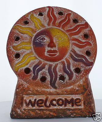 Patio Decor Terra Cotta Sun Face Southwest Tea Light Holder 39667