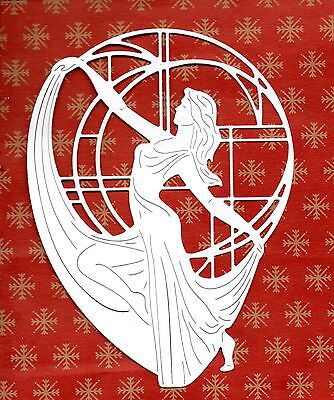 NEW LARGE TATTERED LACE ART DECO LAMP LADY DIE CUTS - WHITE CHRISTMAS TOPPER