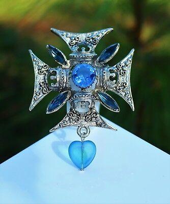 Silver tone ornate Maltese cross with  blue glass heart BROOCH  rhinestones  - Ornate Heart Cross