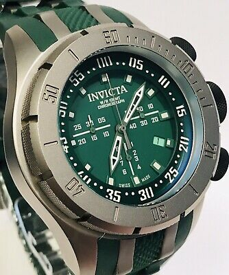 Invicta Coalition Forces Titanium/Green Swiss Diagonal Chrono Quartz Mens Watch