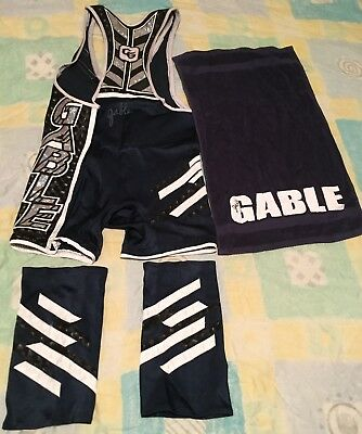 Wwe chad gable worn ring used signed outfit singlet towel & kneepad covers rare